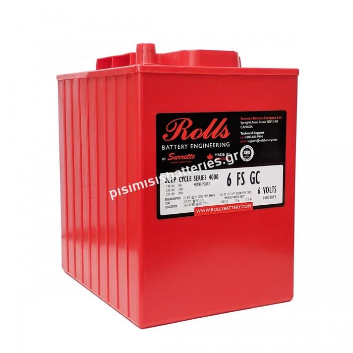 Μπαταρία Ανοιχτού Τύπου με υγρά Rolls 6-FS-GS (6-FS-215) 6 Volt FS Series