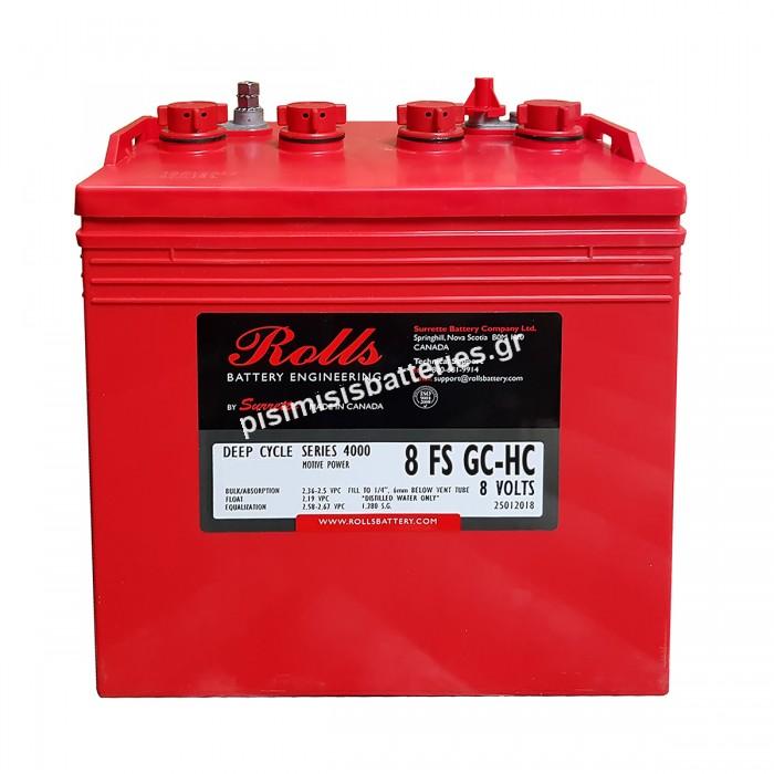 Μπαταρία Ανοιχτού Τύπου με υγρά Rolls 8-FS-GC-HC (8-FS-180) 8 Volt FS Series