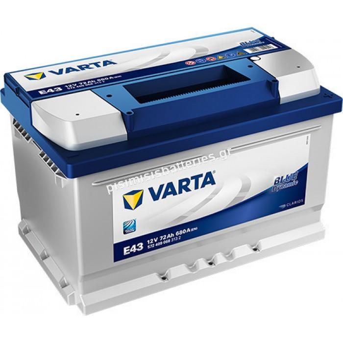 Μπαταρία Αυτοκινήτου Varta Blue Dynamic E43 12V 72Ah 680EN