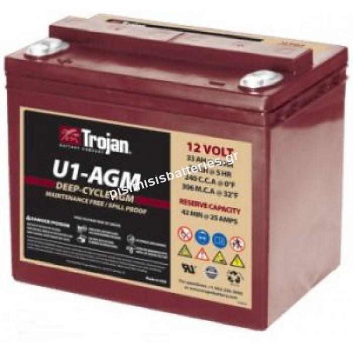 Μπαταρία Βαθείας Εκφόρτισης U1-AGM Trojan 12V 33Ah