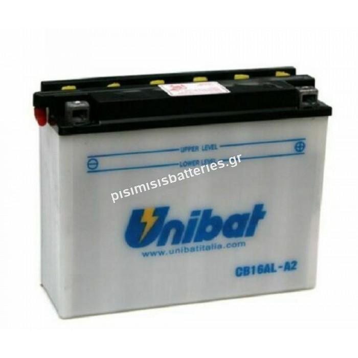 Μπαταρία μοτοσυκλέτας Unibat YB16AL-A2 12V 16Ah 210CCA με υγρά