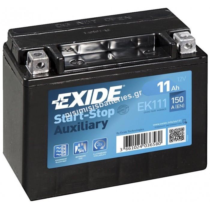 Μπαταρία Exide AGM EK131 Start Stop Auxiliary 12V Battery Capacity 20hr 13 (Ah):EN1 (Amps): 200CCA