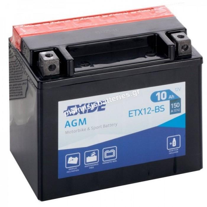 Μπαταρία για Μοτοσυκλέτα EXIDE ( ETX12-BS )  YTX12-BS 10 AH