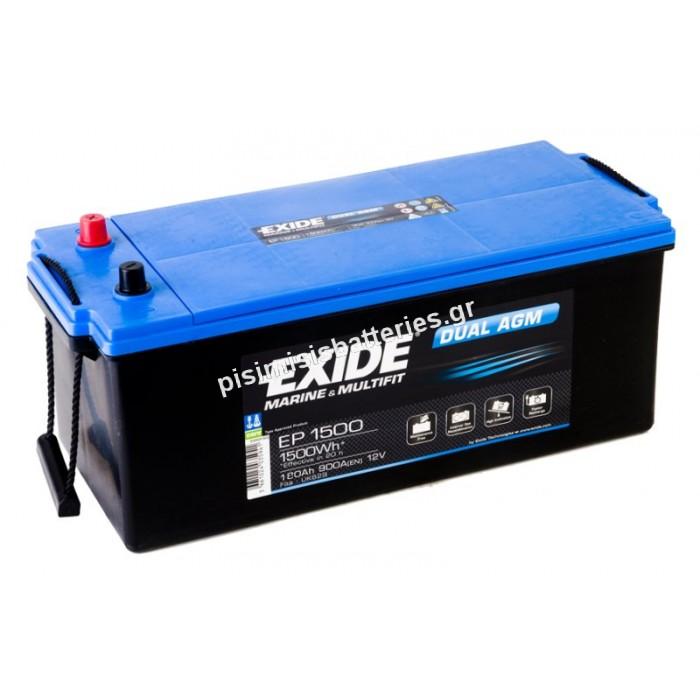 Μπαταρία Βαθειάς Εκφόρτισης EXIDE DUAL AGM EP1500-bat1