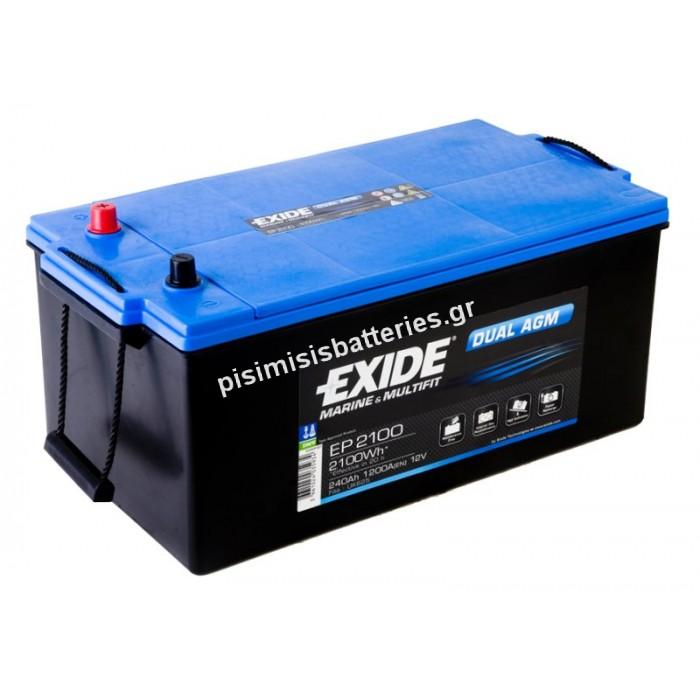 Μπαταρία Βαθειάς Εκφόρτισης EXIDE DUAL AGM EP2100-bat2