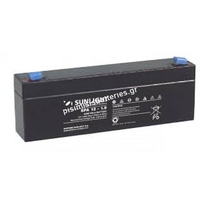 Επαναφορτιζόμενη μπαταρία μολύβδου Sunlight VRLA SPA 12-1.9 12V 1.9Ah