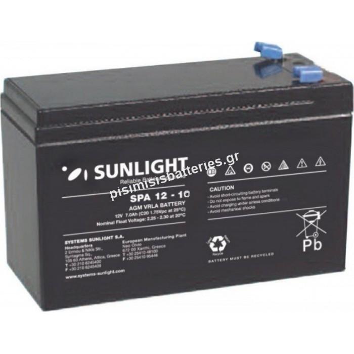 Επαναφορτιζόμενη μπαταρία μολύβδου Sunlight VRLA SPA 12-10 12V 10Ah