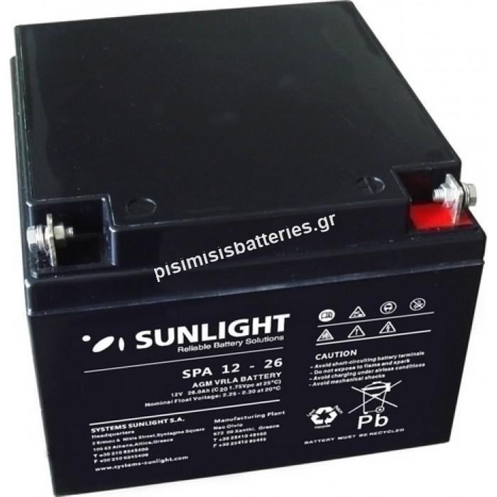 Επαναφορτιζόμενη μπαταρία μολύβδου Sunlight VRLA SPA 12-26 12V 26Ah