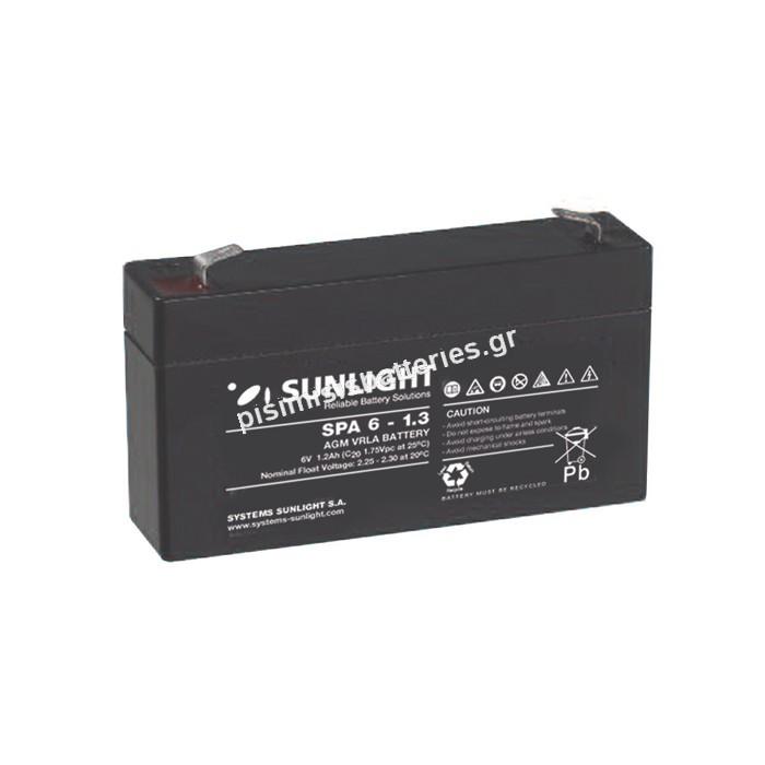 Επαναφορτιζόμενη μπαταρία μολύβδου Sunlight VRLA SPA 6-1.3 6V 1.3Ah