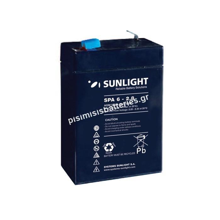 Επαναφορτιζόμενη μπαταρία μολύβδου Sunlight VRLA SPA 6-2.8 6V 2.8Ah