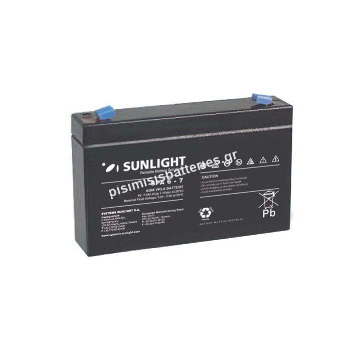 Επαναφορτιζόμενη μπαταρία μολύβδου Sunlight VRLA SPA 6-7 6V 7Ah