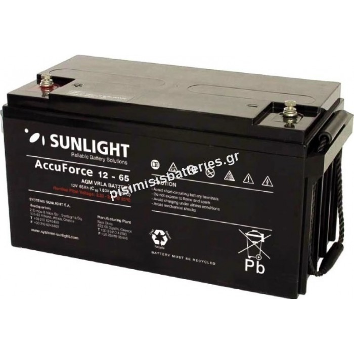 Μπαταρία UPS Sunlight VRLA - AGM SPB 12-65 12V 65Ah